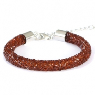 Bracelets Crystal Diamond 8mm marron foncé topaz