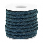 Cordon en denim cousu 6x4mm bleu royal foncél
