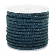 Cordon en denim cousu 4x3mm bleu royal foncél