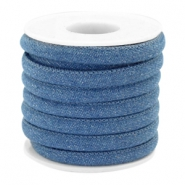 Cordon en denim cousu 6x4mm bleu regular