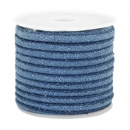 Cordon en denim cousu 4x3mm bleu regular