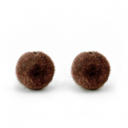 Perles pompon velvet 6mm marron chocolat